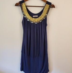 Forever blue long tank blouse gold sequins gems